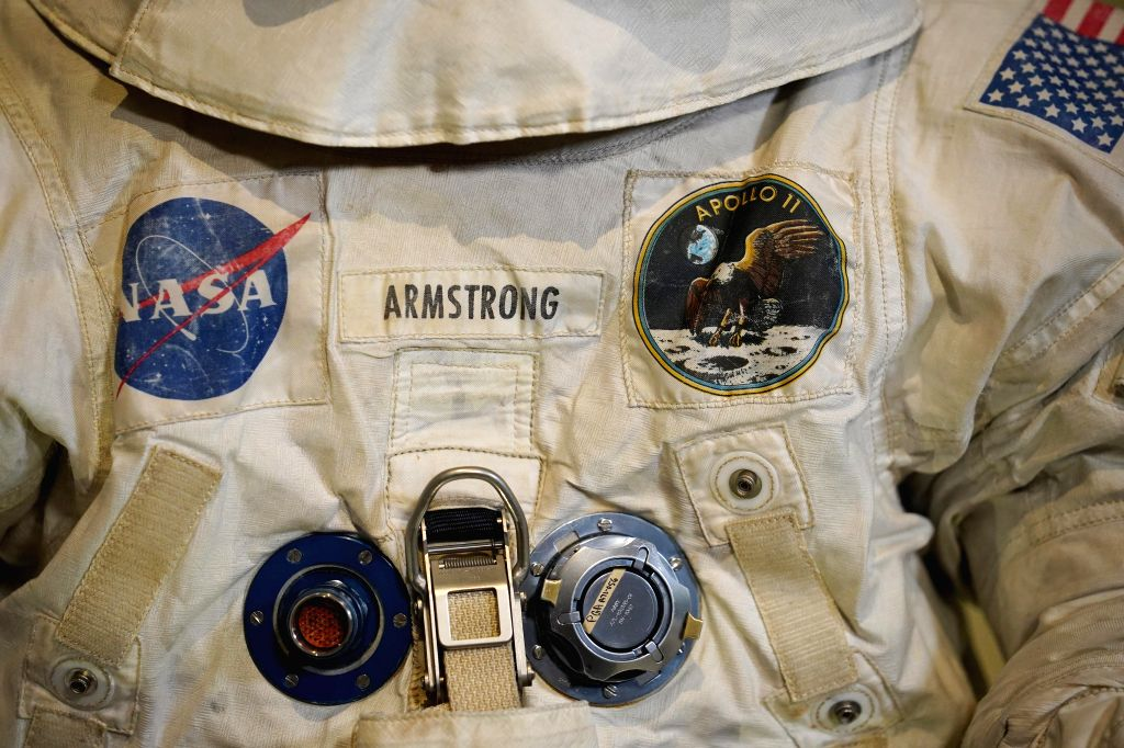 WASHINGTON, July 16, 2019 - Photo taken on July 16, 2019 shows the details of U.S. astronaut Neil Armstrong's Apollo 11 spacesuit displayed at the Smithsonian National Air and Space Museum in ...