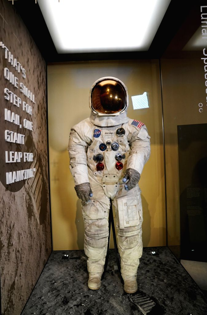 WASHINGTON, July 16, 2019 - U.S. astronaut Neil Armstrong's Apollo 11 spacesuit is seen at the Smithsonian National Air and Space Museum in Washington D.C., the United States, July 16, 2019. The ...