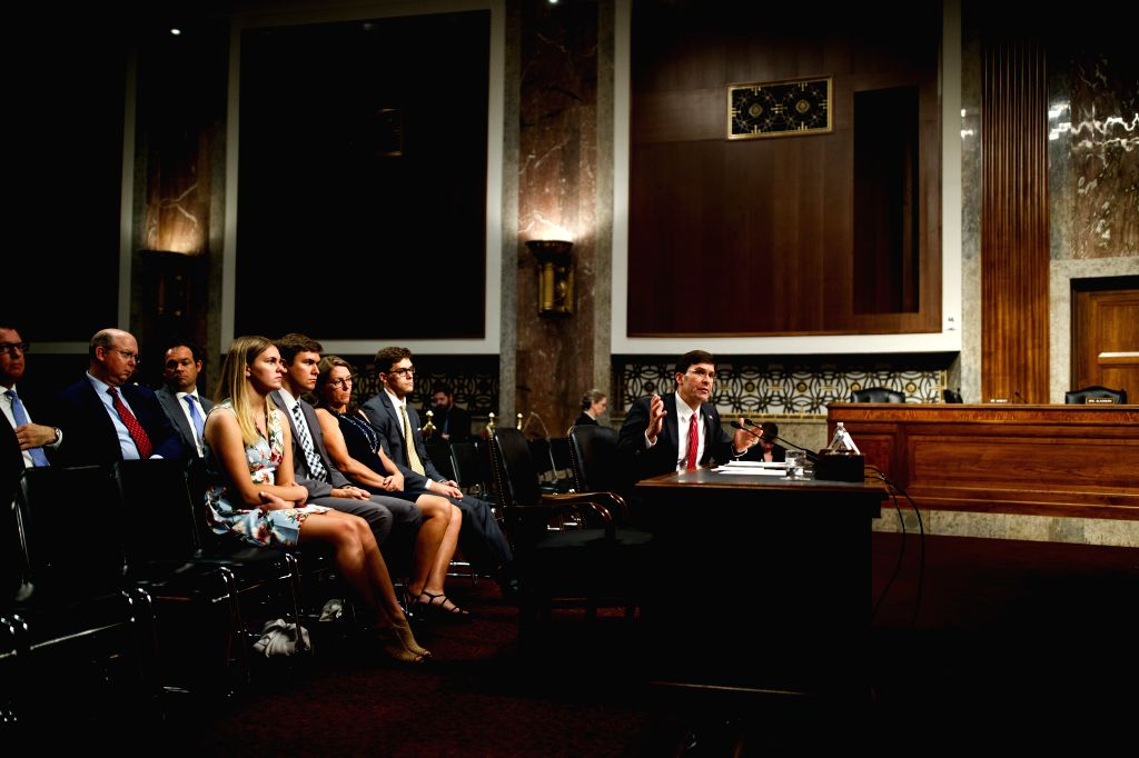 WASHINGTON, July 16, 2019 - U.S. Secretary of Defense nominee Mark Esper (1st R, front) testifies before the Senate Armed Services Committee during his confirmation hearing on Capitol Hill in ...