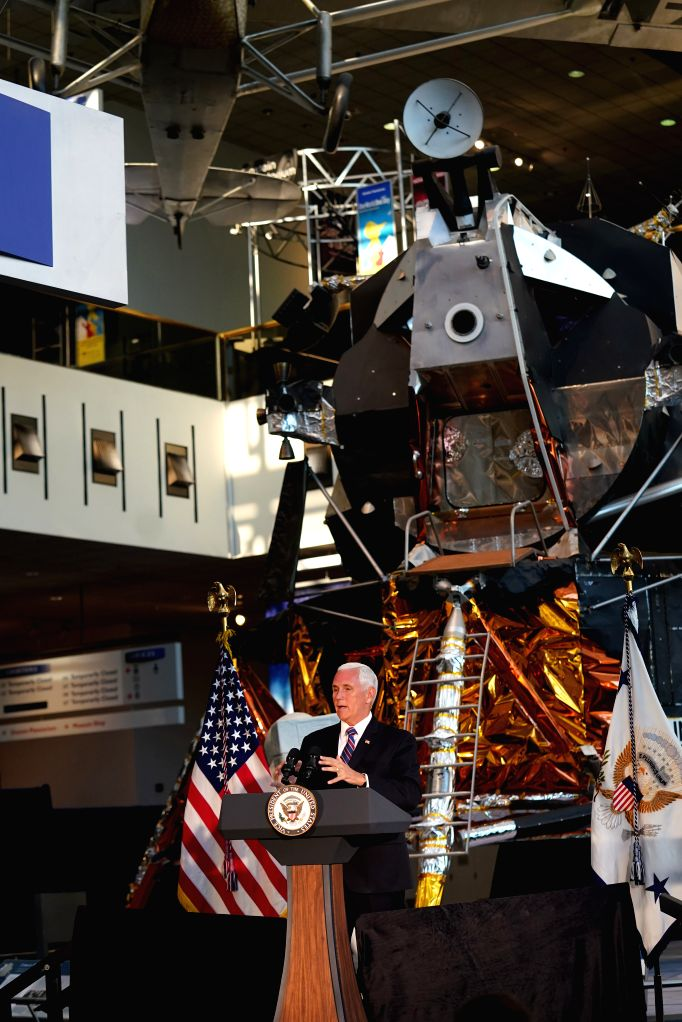 WASHINGTON, July 16, 2019 - U.S. Vice President Mike Pence speaks at the unveiling ceremony of U.S. astronaut Neil Armstrong's Apollo 11 spacesuit at the Smithsonian National Air and Space Museum in ...