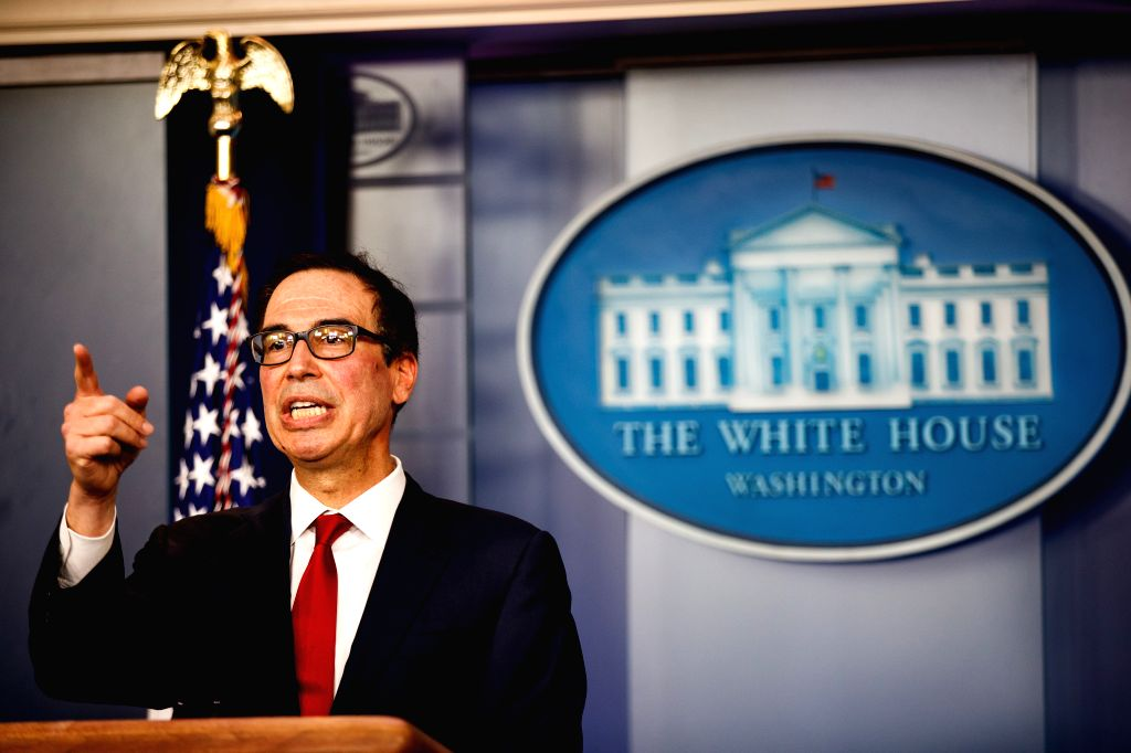 WASHINGTON, July 18, 2019 - File photo taken on July 15, 2019 shows U.S. Treasury Secretary Steve Mnuchin speaking during a press briefing at the White House in Washington D.C., the United States. ...