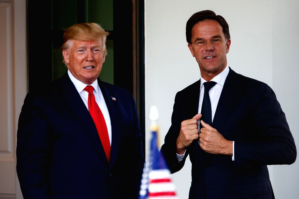 WASHINGTON, July 18, 2019 - U.S. President Donald Trump (L) welcomes Dutch Prime Minister Mark Rutte at the White House in Washington D.C., the United States, on July 18, 2019. - Mark Rutte