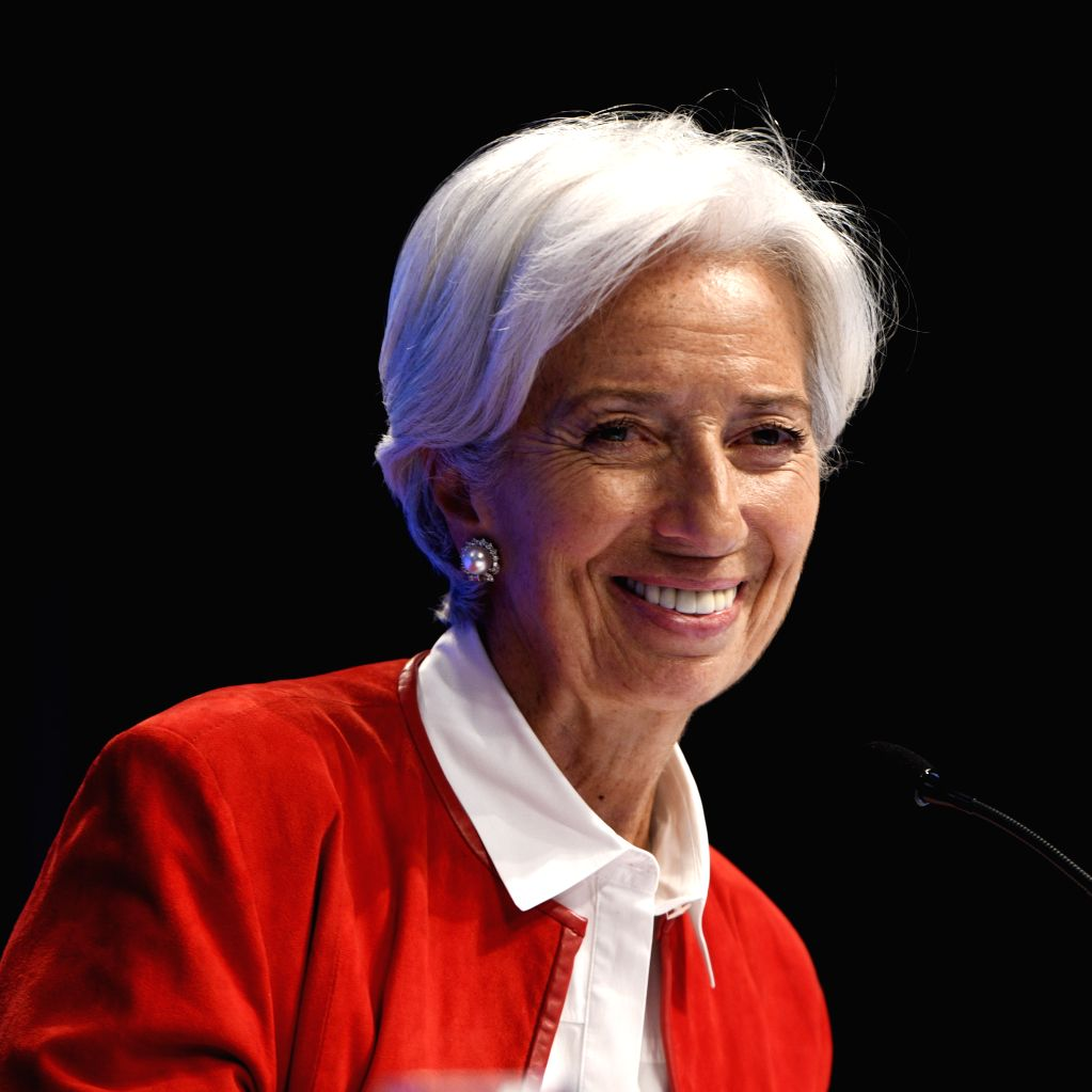 WASHINGTON, July 2, 2019 (Xinhua) -- File photo taken on April 11, 2019 shows Christine Lagarde, Managing Director of the International Monetary Fund (IMF), attending a press conference at the Spring Meetings of the IMF and the World Bank in Washingt