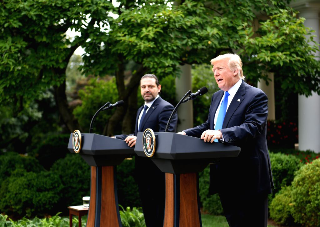 WASHINGTON, July 25, 2017 - U.S. President Donald Trump (R) speaks at a joint press conference with visiting Lebanese Prime Minister Saad Hariri at the White House in Washington D.C., the United ... - Saad Hariri