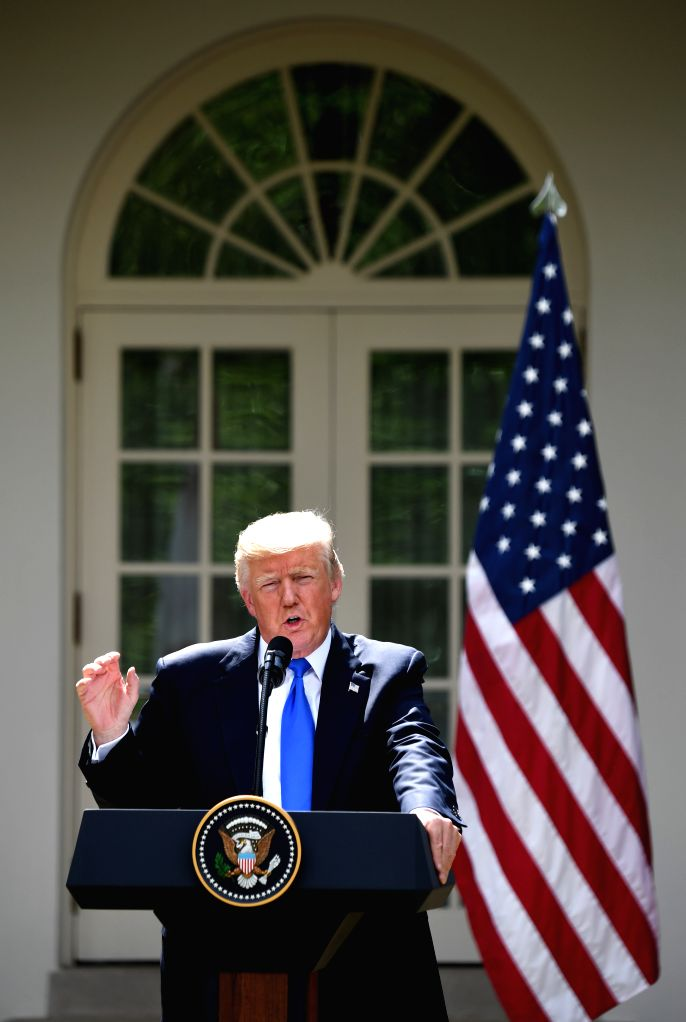 WASHINGTON, July 25, 2017 - U.S. President Donald Trump speaks at a joint press conference with visiting Lebanese Prime Minister Saad Hariri (not in the picture) at the White House in Washington ... - Saad Hariri