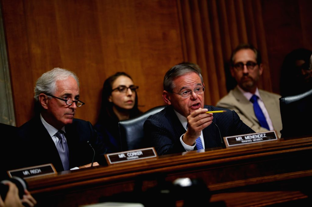WASHINGTON, July 26, 2018 - U.S. Senate Foreign Relations Committee ranking member Sen. Bob Menendez questions Secretary of State Mike Pompeo on Capitol Hill in Washington D.C., the United States, on ...