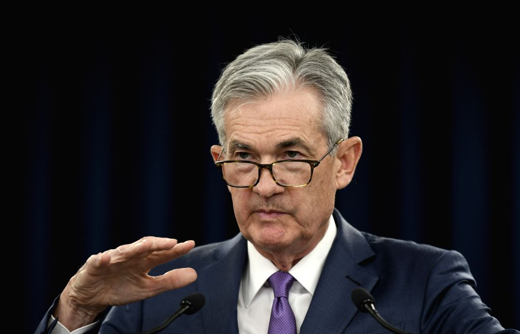 WASHINGTON, July 31, 2019 (Xinhua) -- U.S. Federal Reserve Chairman Jerome Powell speaks during a press conference in Washington D.C., the United States, on July 31, 2019. U.S. Federal Reserve on Wednesday lowered interest rates for the first time si