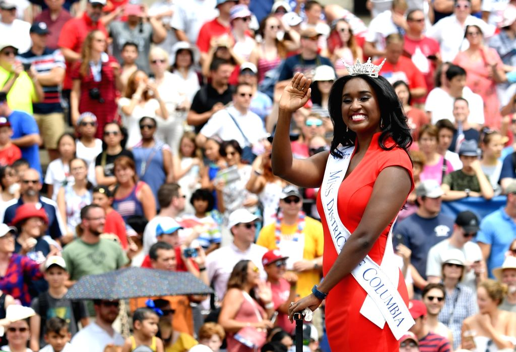 WASHINGTON, July 4, 2017 - Miss District of Columbia takes part in the Independence Day parade in Washington D.C., the United States, on July 4, 2017. The United States celebrated its Independence ...