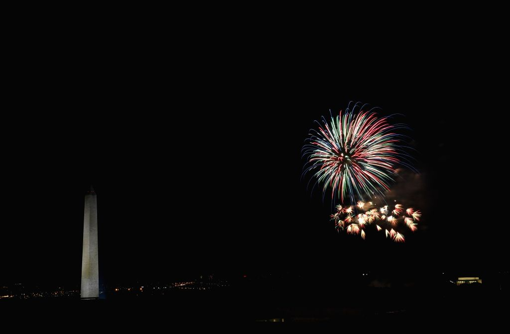 WASHINGTON, July 5, 2017 - Fireworks explode over the Washington Monument and the Lincoln Memorial celebrating the Independence Day of the United States, in Washington D.C., on July 4, 2017. The ...
