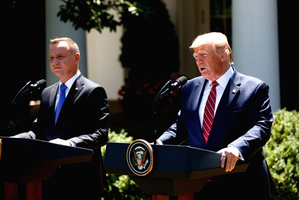 WASHINGTON, June 13, 2019 - U.S. President Donald Trump (R) attends a joint press conference with visiting Polish President Andrzej Duda at the Rose Garden of the White House in Washington D.C., the ...