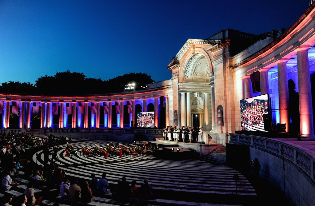 An evening musical tribute is held in Arlington, Virginia, the United States, June 15, 2014, to mark the 150th founding anniversary of the national cemetery ...