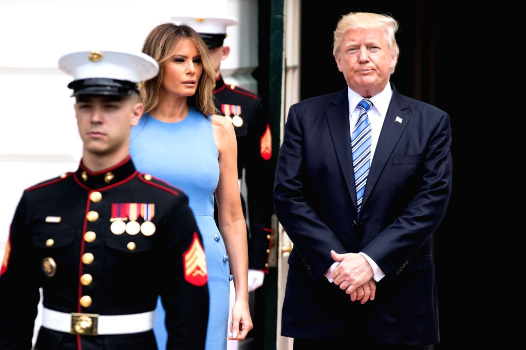 WASHINGTON, June 19, 2017 - U.S. President Donald Trump (1st R) and First Lady Melania Trump (2nd L) wait to welcome Panamanian President Juan Carlos Varela and his wife Lorena Castillo at the White ...