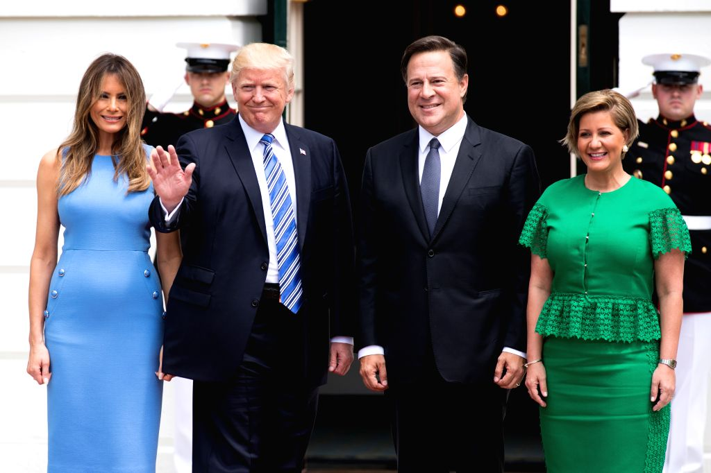 WASHINGTON, June 19, 2017 - U.S. President Donald Trump (2nd L) and First Lady Melania Trump (1st L) welcome Panamanian President Juan Carlos Varela (2nd R) and his wife Lorena Castillo at the White ...
