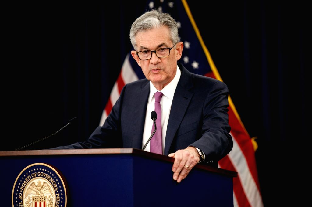 WASHINGTON , June 19, 2019 (Xinhua) -- U.S. Federal Reserve Chairman Jerome Powell speaks at a press conference in Washington D.C., the United States, on June 19, 2019. The U.S. Federal Reserve on Wednesday left interest rates unchanged as officials