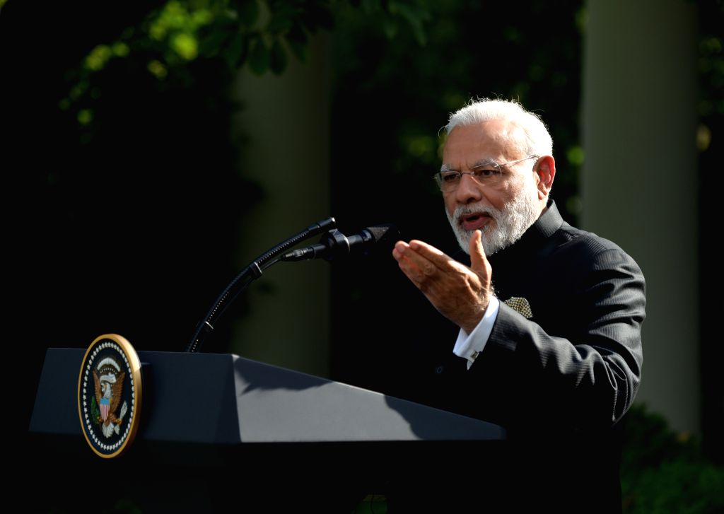 WASHINGTON, June 27, 2017 - Indian Prime Minister Narendra Modi speaks during joint statements with U.S. President Donald Trump (not in the picture) at the White House in Washington D.C., the United ... - Narendra Modi