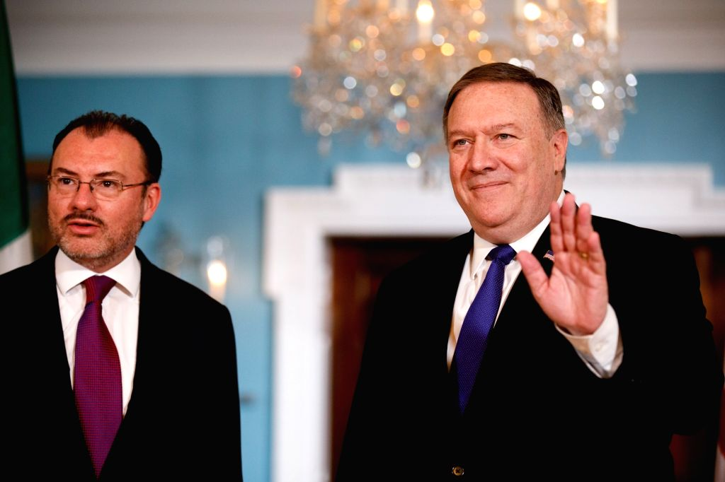 WASHINGTON, June 5, 2018 - U.S. Secretary of State Mike Pompeo (R) and Mexican Foreign Secretary Luis Videgaray attend a photo opportunity at the Department of State in Washington D.C., the United ...