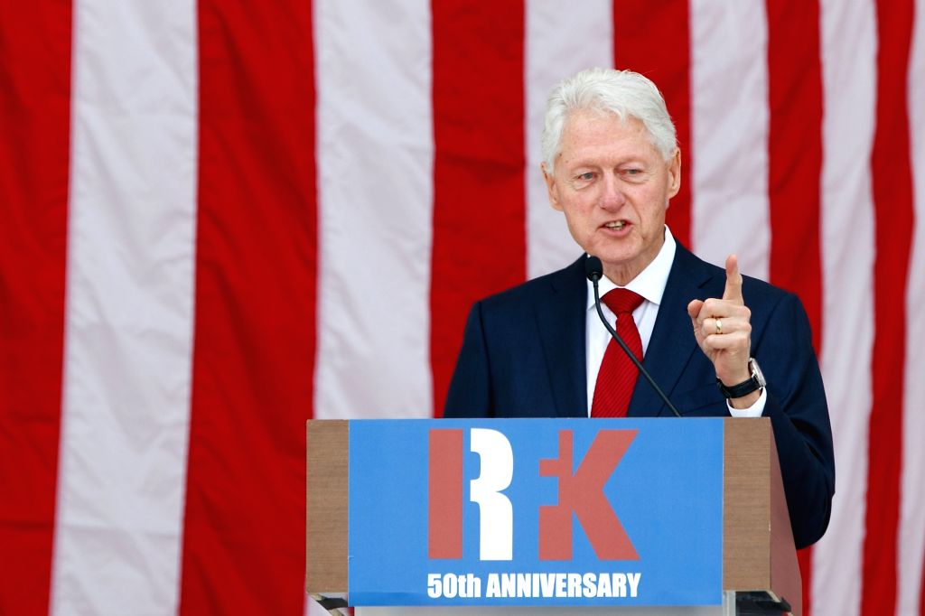WASHINGTON, June 6, 2018 - Former U.S. President Bill Clinton speaks during a public memorial for Robert F. Kennedy at the 50th anniversary of his assassination at Arlington National Cemetery in ...