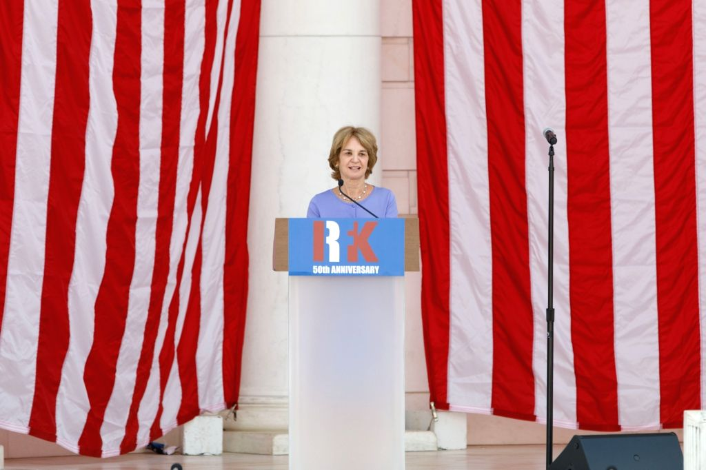 WASHINGTON, June 6, 2018 - Kathleen Kennedy Townsend, daughter of Robert F. Kennedy, speaks during a public memorial for Robert F. Kennedy at the 50th anniversary of his assassination at Arlington ...