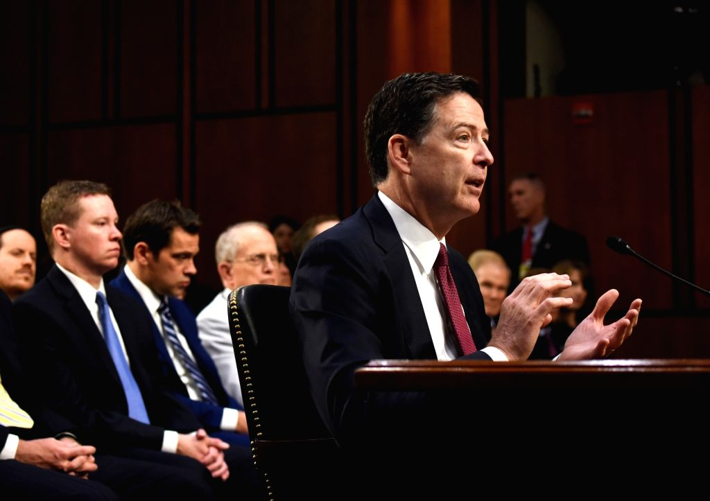 WASHINGTON, June 8, 2017 - Former Director of Federal Bureau of Investigations James Comey speaks during a Senate Intelligence Committee hearing on Capitol Hill, in Washington D.C., the United ...