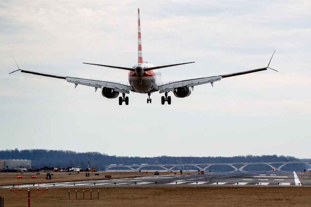 WASHINGTON, March 13, 2019 - An American Airlines Boeing 737 Max 8 aircraft from Los Angeles approaches to land at Washington Reagan National Airport in Washington D.C., the United States on March ...
