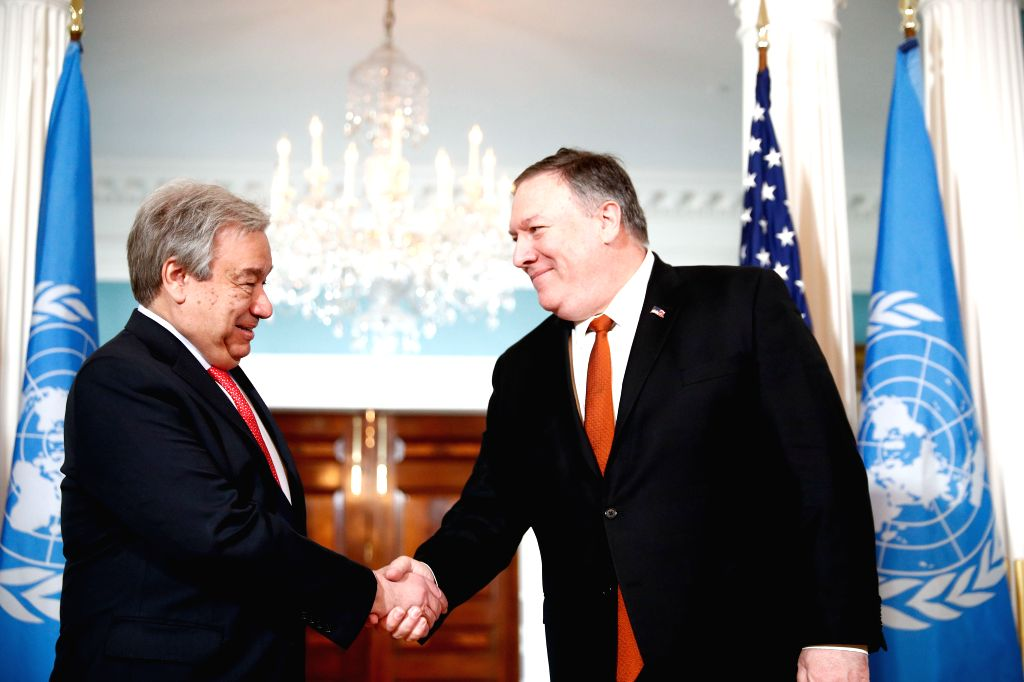 WASHINGTON, March 13, 2019 - U.S. Secretary of State Mike Pompeo (R) meets with United Nations Secretary-General Antonio Guterres at the Department of State in Washington D.C., the United States, on ...