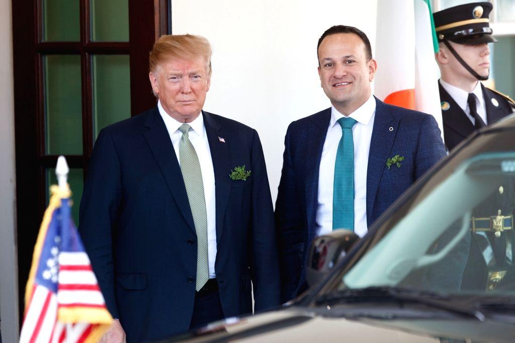 WASHINGTON, March 14, 2019 - U.S. President Donald Trump (L) welcomes Irish Prime Minister Leo Varadkar (C) at the White House in Washington D.C., the United States, on March 14, 2019. - Leo Varadkar