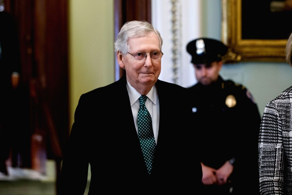 WASHINGTON, March 14, 2019 - U.S. Senate Majority er Mitch McConnell walks to the Senate chamber before a Senate vote on President Donald Trump's declaration of a national emergency, on Capitol ...