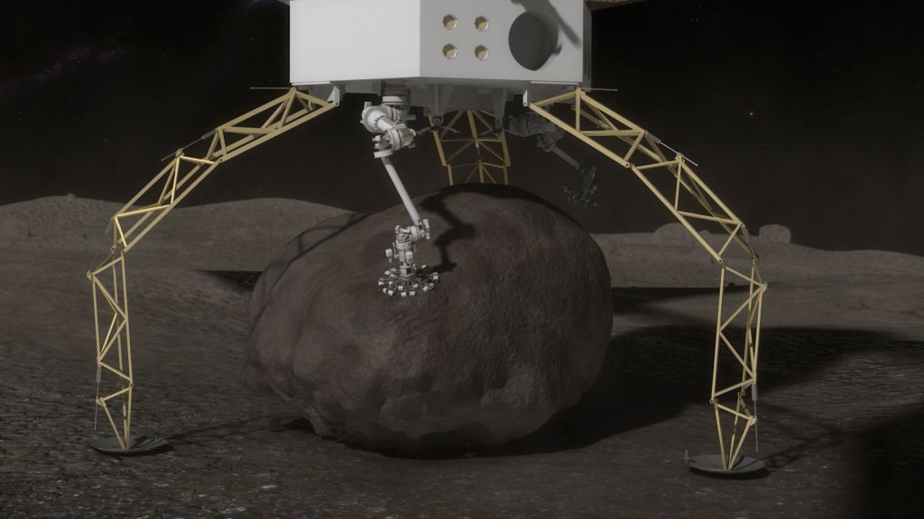 Modeled image released by U.S. space agency NASA shows a spacecraft capturing a boulder from a larger asteroid. NASA announced on March 25, 2015 that it has ...