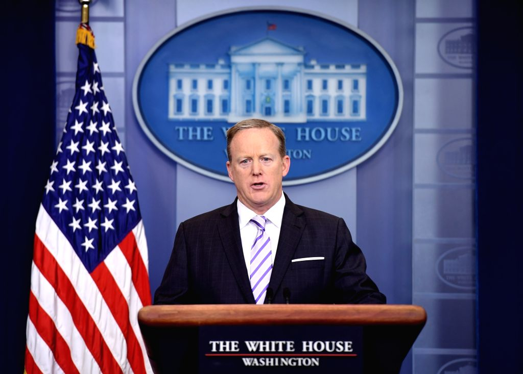 WASHINGTON, May 17, 2017 - U.S. White House spokesman Sean Spicer speaks during a press briefing at the White House in Washington D.C. May 16, 2017.