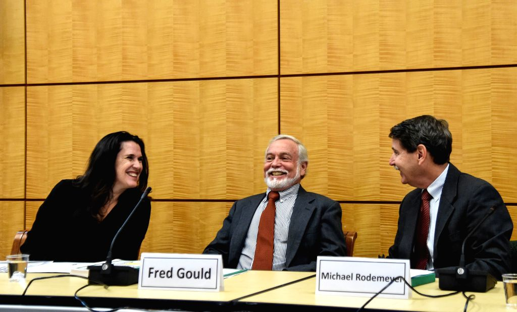 WASHINGTON, May 18, 2016 - Fred Gould (C), chairman of the study committee on genetically engineered (GE)  crops, speaks at a news conference in Washington, the United States, on May 17, 2016. ...