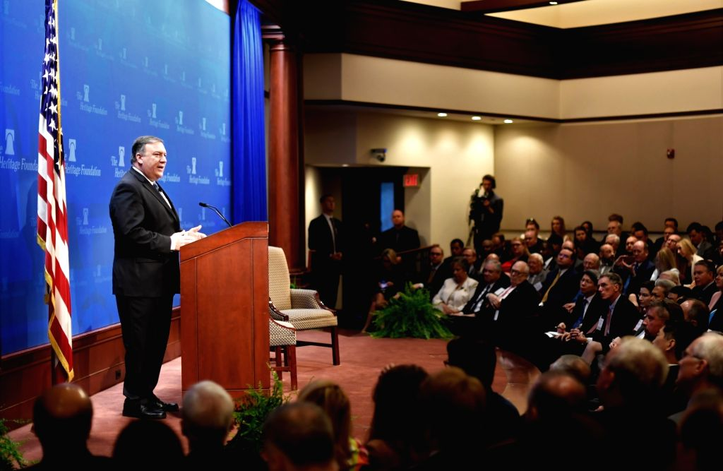 WASHINGTON, May 21, 2018 - U.S. Secretary of State Mike Pompeo delivers a speech regarding U.S. policy after withdrawing from Iran nuclear deal at the Heritage Foundation in Washington D.C., the ...