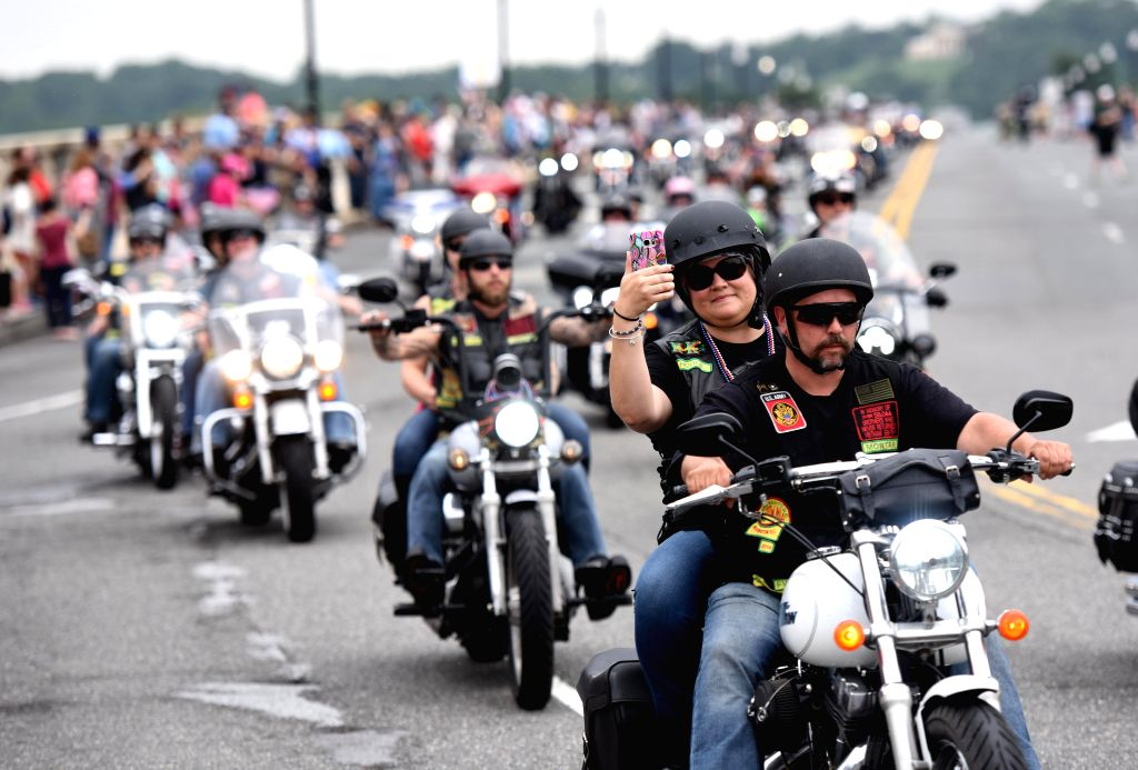 WASHINGTON, May 28, 2017 - U.S. motorcyclists participate in the annual Rolling Thunder motorcycle ride near Lincoln Memorial in Washington D.C., capital of the United States, on May 28, 2017. Tens ...