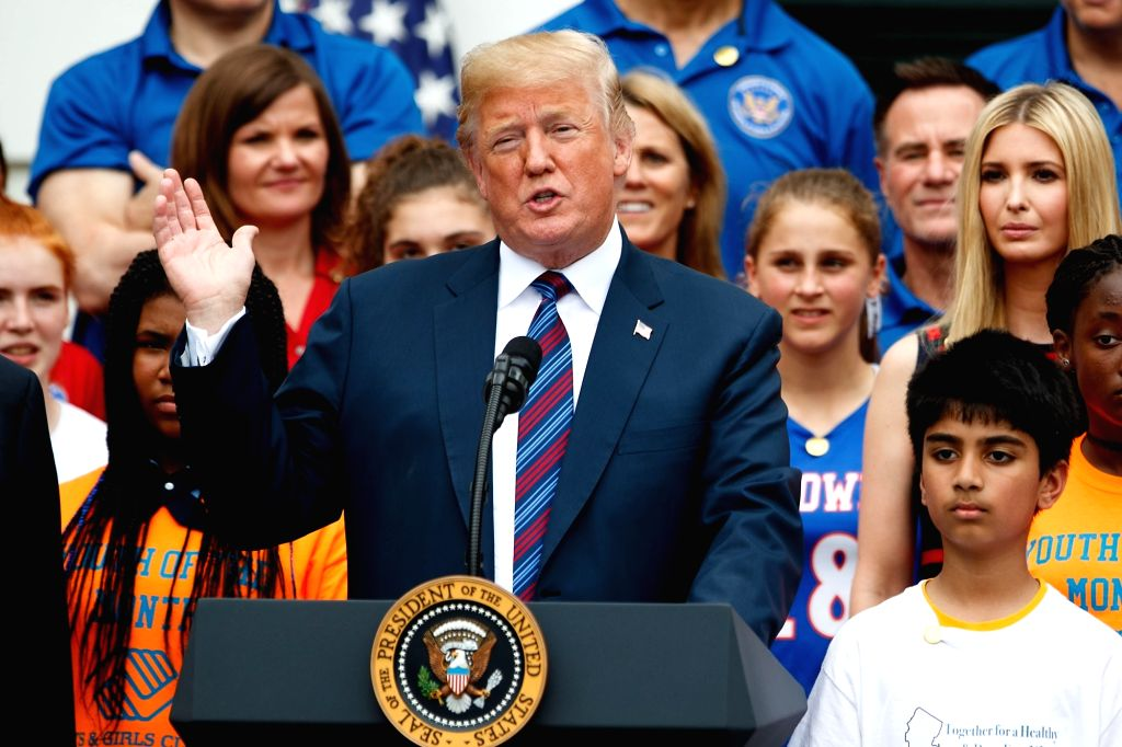 WASHINGTON, May 30, 2018 - U.S. President Donald Trump speaks during the White House Sports and Fitness Day at the White House in Washington D.C., the United States, on May 30, 2018.
