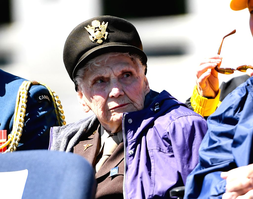 WASHINGTON, May 8, 2017 - A veteran of World War II takes part in the Victory in Europe Day Ceremony at the National World War II Memorial in Washington D.C., the United States, May 8, 2017, to mark ...