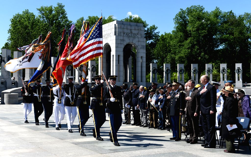 WASHINGTON, May 8, 2017 - People take part in the Victory in Europe Day Ceremony at the National World War II Memorial in Washington D.C., the United States, May 8, 2017, to mark the 72nd anniversary ...