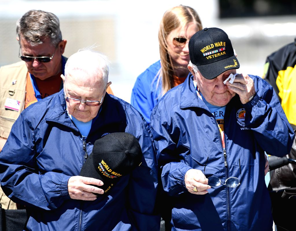 WASHINGTON, May 8, 2017 - Veterans of World War II take part in the Victory in Europe Day Ceremony at the National World War II Memorial in Washington D.C., the United States, May 8, 2017, to mark ...