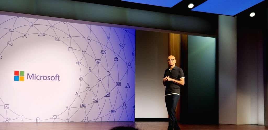 Washington: Microsoft CEO Satya Nadella speaking at Build 2018 Developers' Conference in Redmond, Washington, on May 7, 2018. (Photo: IANS)