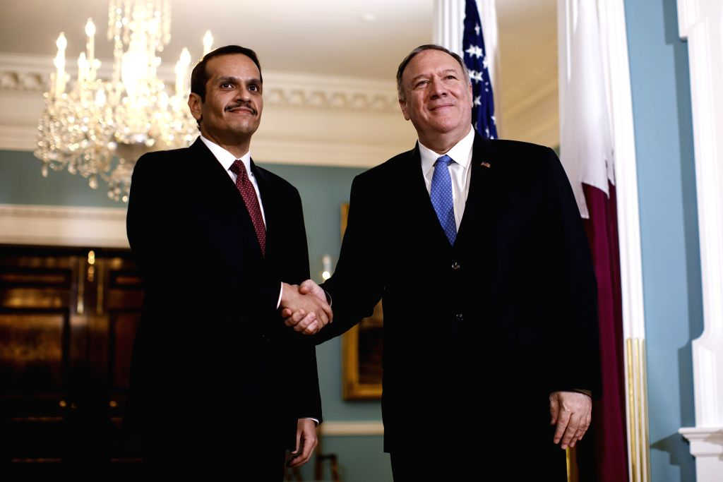 WASHINGTON, Nov. 12, 2019 - U.S. Secretary of State Mike Pompeo (R) meets with Qatari Deputy Prime Minister and Foreign Minister Sheikh Mohammed bin Abdulrahman Al-Thani in Washington D.C., the ... - Sheikh Mohammed