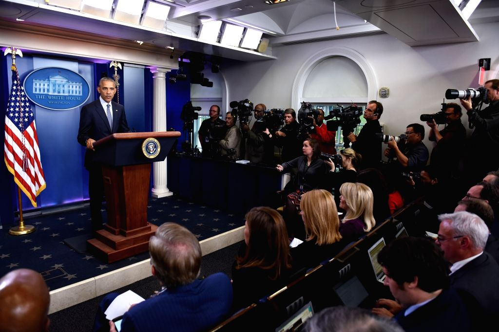 WASHINGTON, Nov. 15, 2016 - U.S. President Barack Obama speaks at his first press conference since last week's presidential election at the White House in Washington D.C., the United States, Nov. 14, ...