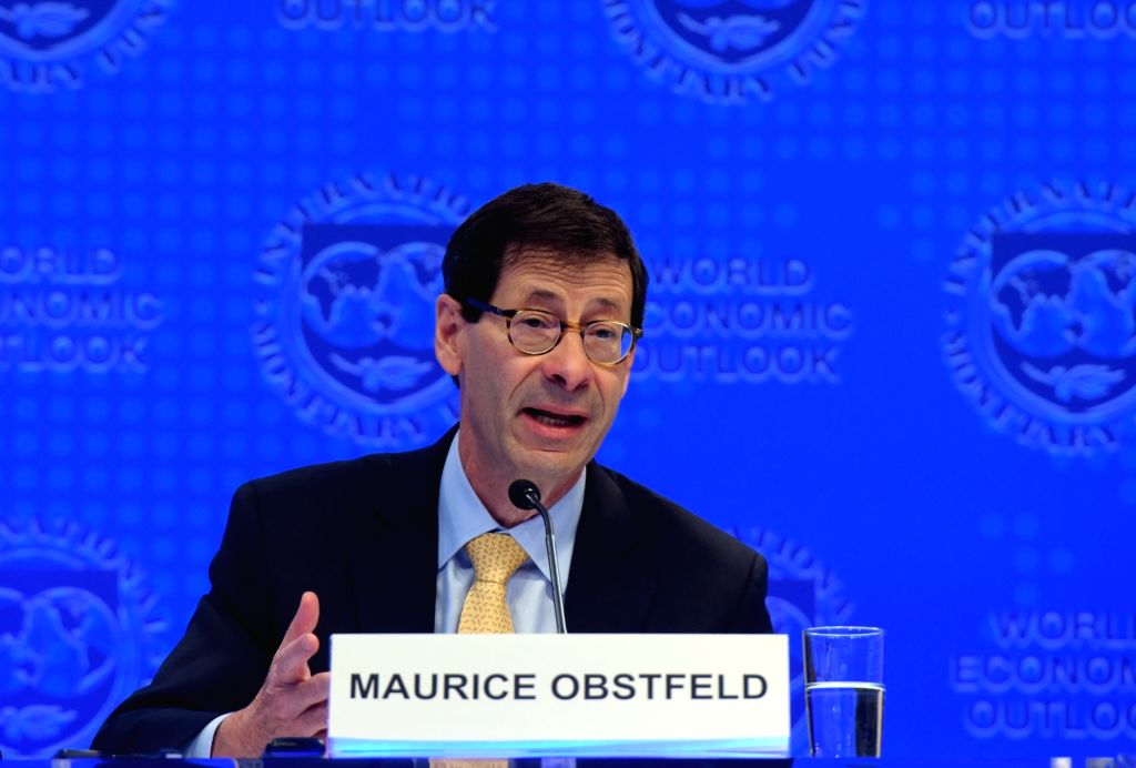 WASHINGTON, Oct. 10, 2017 - Maurice Obstfeld, chief economist at the International Monetary Fund (IMF), attends a press briefing at the IMF headquarters in Washington D.C., the United States, on Oct. ...