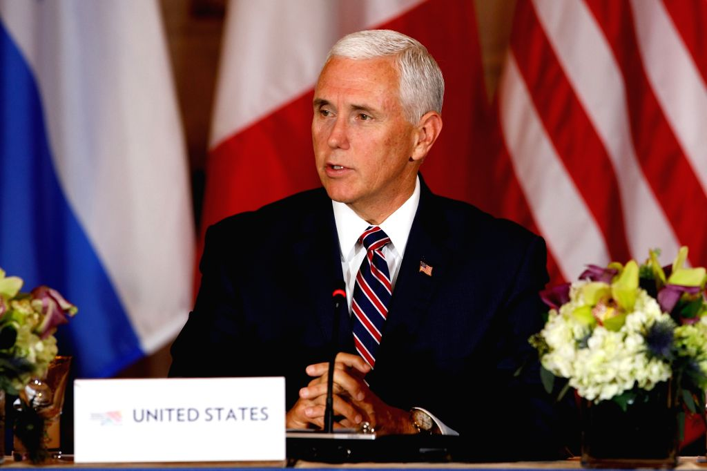 WASHINGTON, Oct. 11, 2018 (Xinhua) -- U.S. Vice President Mike Pence speaks during the Conference on Prosperity and Security in Central America at the U.S. Department of State in Washington D.C., the United States, on Oct. 11, 2018. (Xinhua/Ting Shen