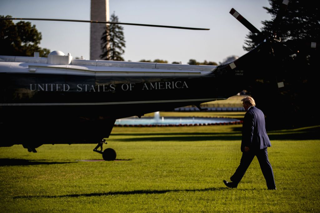 WASHINGTON, Oct. 11, 2019 - U.S. President Donald Trump leaves the White House in Washington D.C., the United States, on Oct. 10, 2019. U.S. President Donald Trump said on Thursday that he hopes to ...