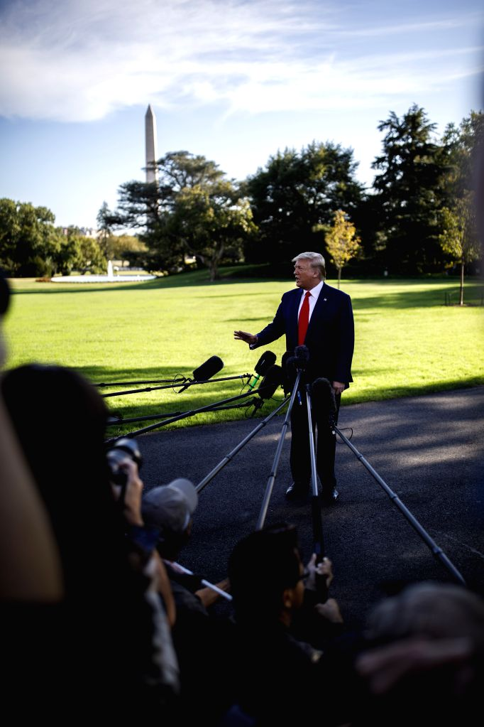 WASHINGTON, Oct. 11, 2019 - U.S. President Donald Trump speaks to reporters before leaving the White House in Washington D.C., the United States, on Oct. 10, 2019. U.S. President Donald Trump said on ...