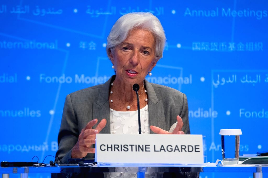 WASHINGTON, Oct. 12, 2017 - International Monetary Fund (IMF) Managing Director Christine Lagarde attends a press conference of the 2017 International Monetary Fund and World Bank annual meetings in ...
