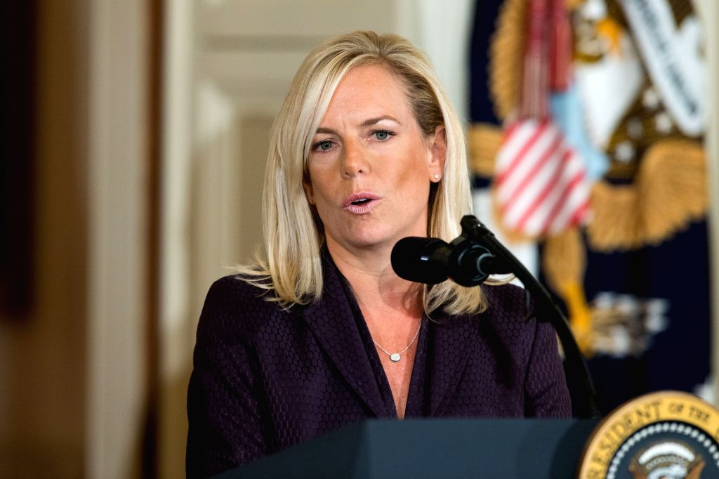 WASHINGTON, Oct. 12, 2017 - Kirstjen Nielsen speaks during her nomination announcement at the White House in Washington D.C., the United States, on Oct. 12, 2017. U.S. President Donald Trump on ...