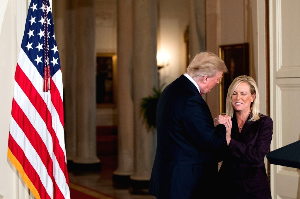 WASHINGTON, Oct. 12, 2017 - U.S. President Donald Trump (L) shakes hands with Kirstjen Nielsen during her nomination announcement at the White House in Washington D.C., the United States, on Oct. 12, ...