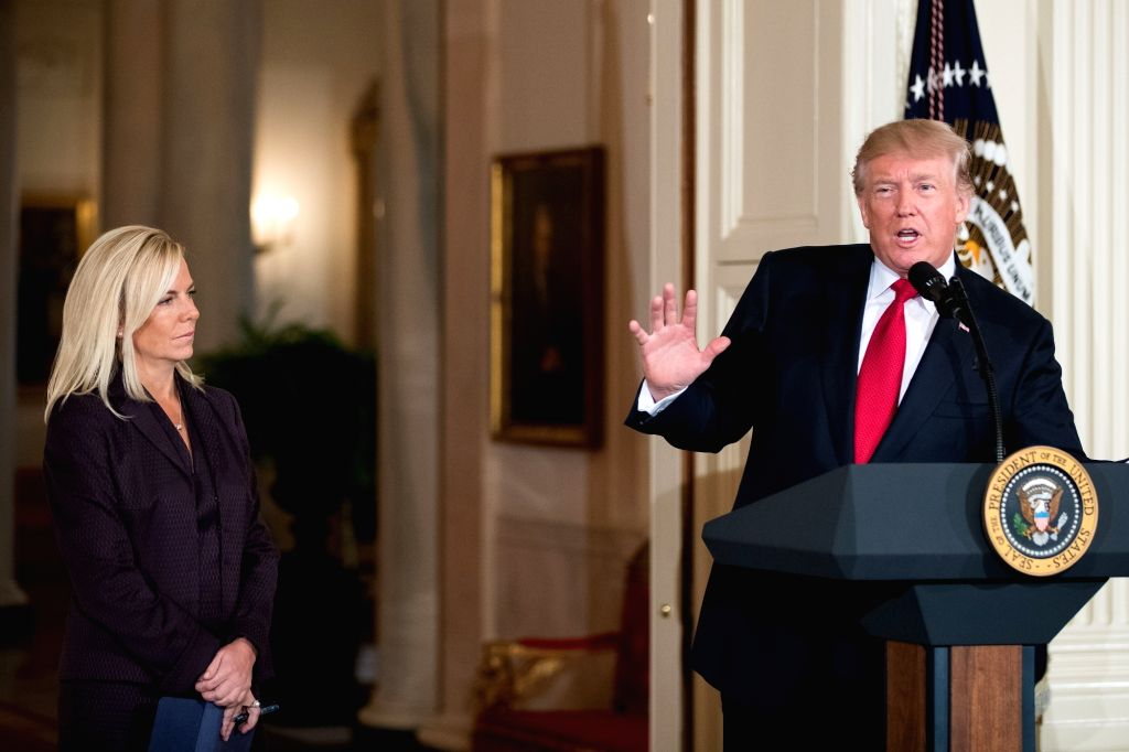 WASHINGTON, Oct. 12, 2017 - U.S. President Donald Trump (R) speaks during the introduction of Kirstjen Nielsen as Secretary of Homeland Security nominee at the White House in Washington D.C., the ...