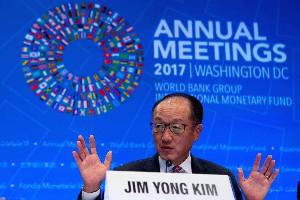 WASHINGTON, Oct. 12, 2017 - World Bank President Jim Yong Kim attends a press conference of the 2017 International Monetary Fund and World Bank annual meetings in Washington D.C., the United States, ...
