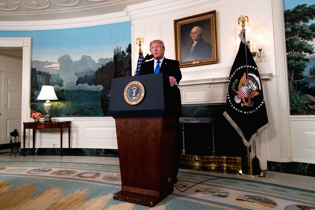 WASHINGTON, Oct. 13, 2017 - U.S. President Donald Trump speaks on new Iran strategy at the White House in Washington D.C., the United States, on Oct. 13, 2017. U.S. President Donald Trump rolled out ...