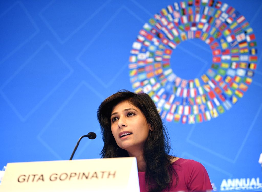 WASHINGTON, Oct. 15, 2019 - International Monetary Fund (IMF) chief economist Gita Gopinath speaks during a press conference in Washington D.C., the United States, on Oct. 15, 2019. The International ...